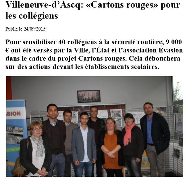 Article de la voix du nord Action Carton Rouge 2015
